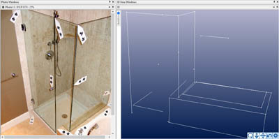 Shower stall modeling with coded targets