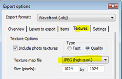 Export options for image type